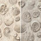 NEW MURIVA FOSSIL PATTERN STONE SHELL MOTIF FAUX EFFECT EMBOSSED VINYL WALLPAPER