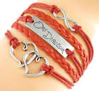 New Girl's, School Teenager, One Diection *Love* Leather Platte Silver Charm fri