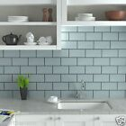 TILE DEALS / SAMPLES London Metro Ice Blue Gloss Brick Wall Tiles 10 X 20cm
