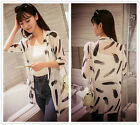 Women's Feather Thin Casual Chiffon Loose Long Sleeve T Shirts Tops Blouses