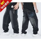 New Men's Hot styler Hip Hop Baggy Dark blue Embroidered Jeans Size6