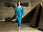 Free shipping Bule silk blend 3pcs Women Floral Sleepwear Pajama Sets M/L/XL/2XL
