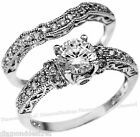 925 Sterling Silver Round Simulated Diamond Engagement Ring Wedding Set sz 5-10