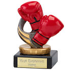 BOXING TROPHY RED GLOVES RESIN AND MARBLE AWARD 4 SIZES AVAILABLE ENGRAVED FREE