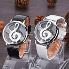 Unisex Quartz Synthetic Leather Women Girl Music Note Design Wrist Watch