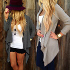 Fashion Women's Long Sleeve Knit Cardigan Casual Jacket Irregular Coat Knitwear