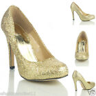 NEW WOMENS LADIES  GOLD PARTY HIGH HEEL PROM EVENING COURT SHOES SIZE 5