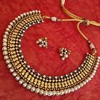 Pearl ethnic glowing South Indian hand-made festive jewelry necklace set V710