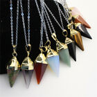 Natural Reiki Gemstone Hexagonal Pyramid Gold Pendulum Pendant Chain Necklace