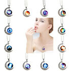 Hot Galaxy Universe Crescent Moon Glass Cabochon Unisex Pendant Necklace Jewelry