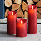 Red Glitter Battery Operated LED Dancing Flame Candles Xmas Party Decoration