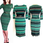 Vintage Womens Summer 3/4 Sleeve Party Business Office Tunic Slim Pencil Dress