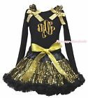 St Patrick Clover Paint Black Top Gold Bling Sequins Girls Skirt Outfit Set 1-8Y