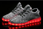 MENS USB LED CHARGER LIGHT RUNNING FASHION CANVAS KNITTING SNEAKER SHOES