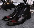 US Size 5-12 Leather Mens Formal Dress Ankle Boots Metal Toe Shoes Free Cufflink