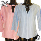 VOODOO DOLLS 'HIPPY TOP' WOMENS TOP SHIRT STRIPE NAVY CERISE 8 12 14 NEW RRP £25