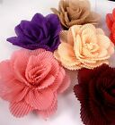 "Handmade Pleated Flower Appliques Craft Sew for Brooch Hat DIY 4"" /10cm C90"