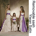Long wedding party prom bridal bridesmaid flower girl dress removable sash belt