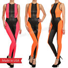 New Sexy Duo Fabric Zip Up PU Faux Leather Neon Color Jumpsuit Romper Bodysuit