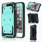 Hard Hybrid Outer Box Case Cover w/ Belt Clip Holster & Stand Teal Green Blue