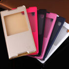 Luxury Window View PU Leather Flip Case Cover Skin For Sony Xperia Phone