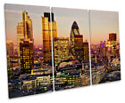 Sunset over London City TREBLE CANVAS WALL ART Box Framed Picture