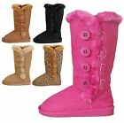 Kids Girls Classic Side Button Flat Heel Round Toe Faux Fur Trim Boots 9 to 3