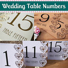 White, Ivory, Kraft/Brown Wedding Table Numbers 1-15 Laser Heart Design