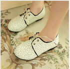 Free Womens Sweet Flat Casual Lace Up Creeper Floral Oxford Canves Office Shoes