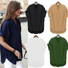 Sexy Women Loose T-shirt cotton Short Sleeve Casual Tops Blouse plus size S-5XL