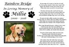 Personalised Pet Memorial Gift Paws Print Rainbow Bridge Poem Keepsake Gift