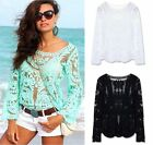New Crochet White Festival Boho Lace Hippy Long Sleeve Blouse Shirt Beach Top
