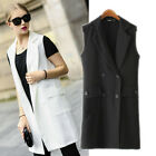 Black White Women Swank Awesome Svelte Fitted Suits Vest Waistcoat Gilet Jackets