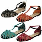 Spot On Ladies Closed Toe Summer T-Bar Shoes