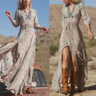 Women Lady Summer Fashion Long Sleeve Beach Boho V Neck Floral Long Maxi Dress