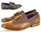 New Mens Slip On Tassle Loafers Contrast Panel Vintage Design Shoes UK Size 6-11
