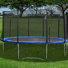 6 8 12 FT Round Jump Trampoline Set W Frame Blue safety Pad Netting