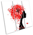 Fashion Hairstyle Hearts Hairdressers TREBLE CANVAS WALL ART Square Print Pictur