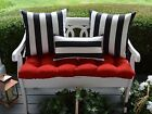 Red Cushion, Black White Stripe Pillow Set for Bench~Swing~Glider, Choose Size