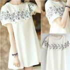 Embroidered Daisy Boho Travel Casual Dress Top Ethnic Floral Cute Short Sleeve