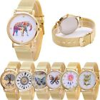 Women Stainless Steel Watch Luxury Pattern Analog Quartz Gold Dress Wrist Watch