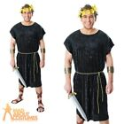 Adult Black Roman Tunic Costume Mens Caesar Greek Toga Fancy Dress Outfit New