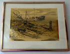 Vintage LIONEL BARRYMORE Gold Etching ROCKY POINT Nautical Boating Print Foil
