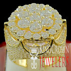 MENS BIG BOLD YELLOW GOLD SILVER FULL ICED OUT BIG FACE J...