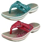 Ladies Clarks Toe Post Casual Summer Beach Mule Sandals Brinkley Jaz
