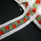 "Red  or Pink Embroideries Flower Organza Lace 1-1/2""  /  3.8cm width L532"