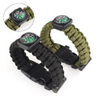 Outdoor Survival Bracelet Paracord Rope Compass Whistle Flint Fire Starter Kit