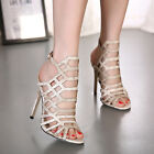 Sexy Womens Gladiator Cut Out Stiletto High Heels Sandals Ankle Buckle Shoes US9