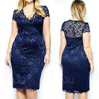 Sexy Women Short Sleeve Navy Blue Lace Floral Party Cocktail Evening Mini Dress