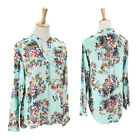Chiffon V-neck Women T-Shirt Flower Printed Long Short Sleeve Blouse Casual Tops